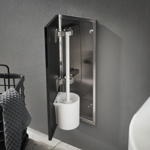 Emco Asis Pure recessed toilet brush set module matt black