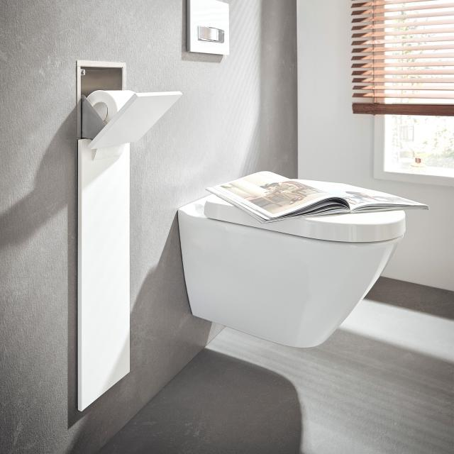 Emco Asis Pure recessed toilet module with compartment for spare toilet roll matt white