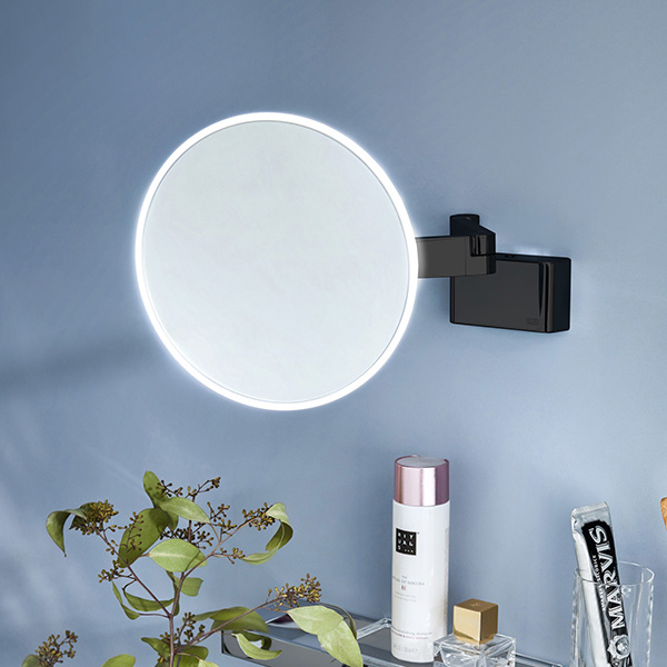 Emco Evo LED shaving and beauty mirror with direct connection and emco light system black