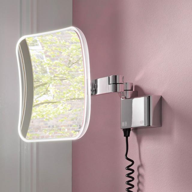 Emco Evo LED shaving and beauty mirror with spiral cable and plug chrome