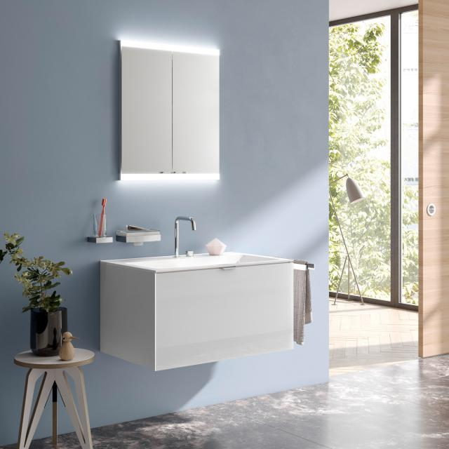 Emco Evo recessed mirror cabinet with LED lighting aluminium, without lighting system