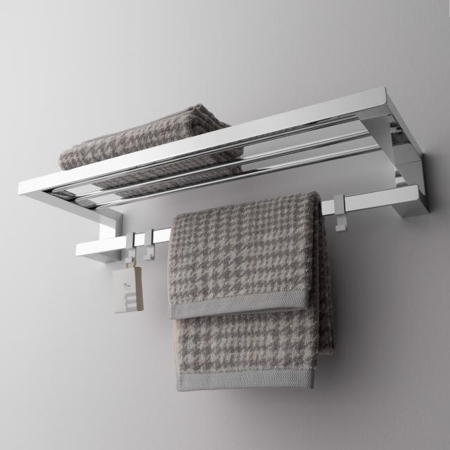 Emco Loft towel rack with bath towel holder with 3 removable hooks