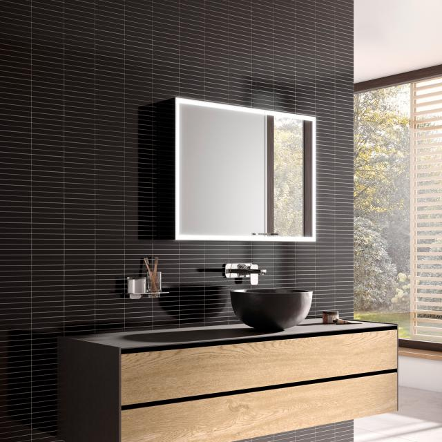 Emco Prestige 2 wall-mounted illuminated mirror cabinet wide door on the left, with lighting system