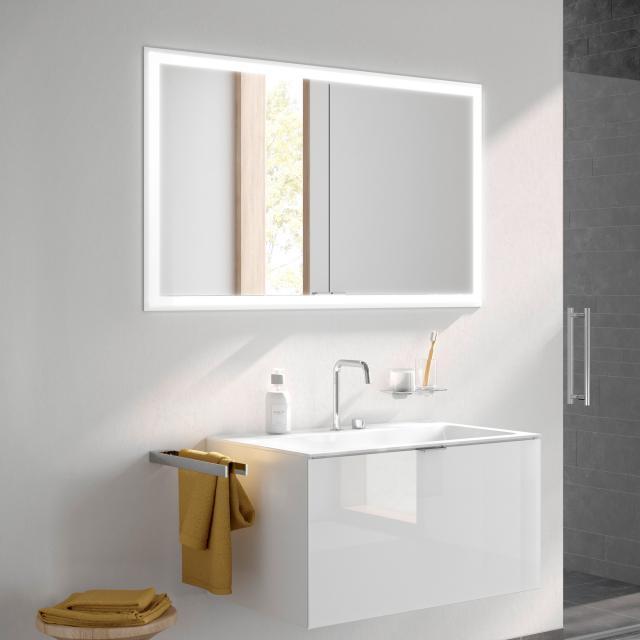 Emco Prime recessed LED illuminated mirror cabinet with lighting package, 2 doors aluminium/mirrored