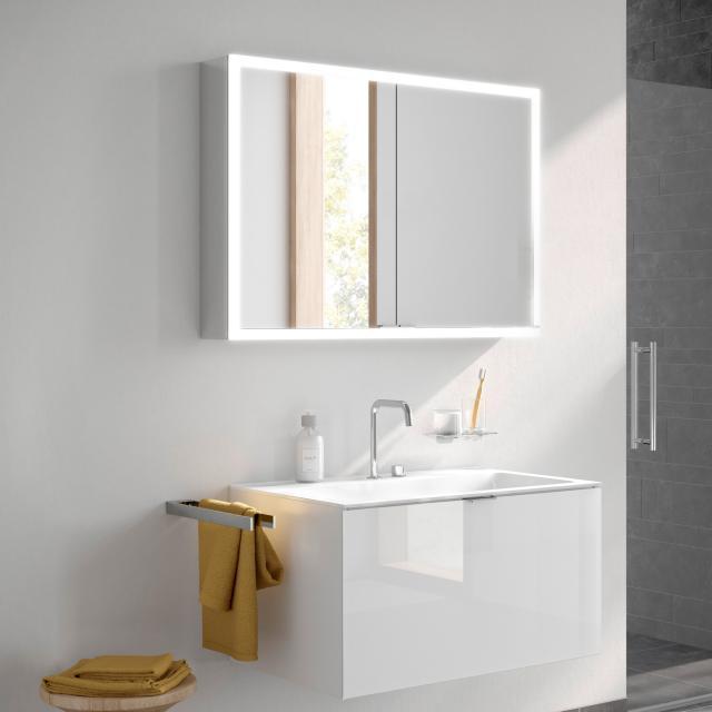 Emco Prime recessed LED illuminated mirror cabinet, 2 doors aluminium/white