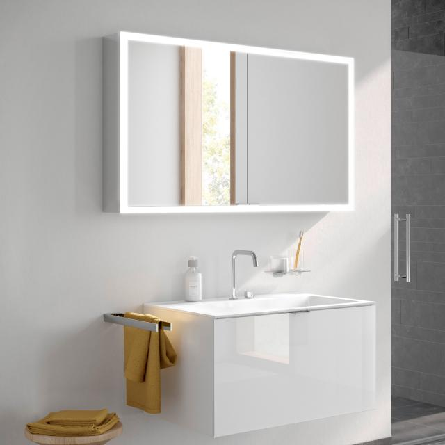 Emco Prime wall-mounted LED illuminated mirror cabinet with lighting package, 2 doors aluminium/mirrored