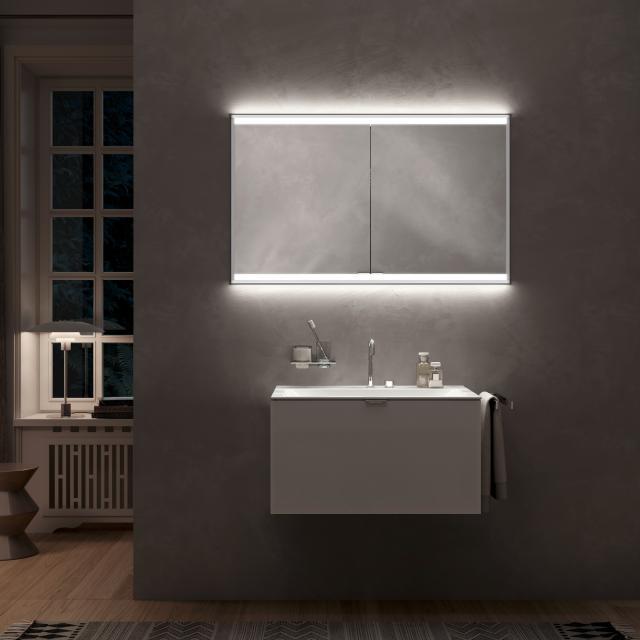 Emco Prime2 recessed LED illuminated mirror cabinet, 2 doors