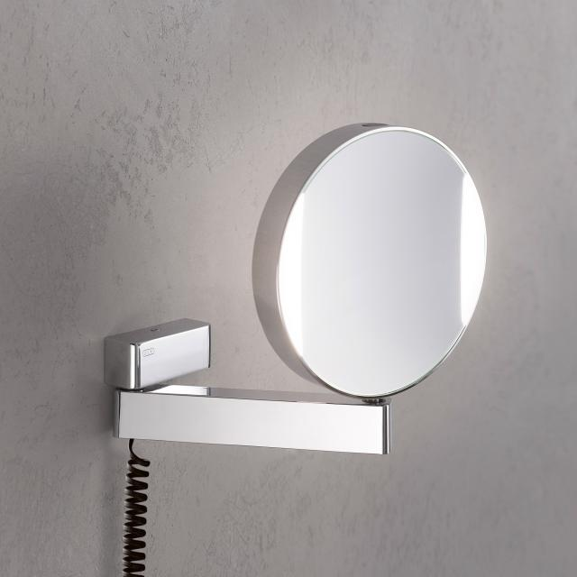 Emco Universal LED shaving and beauty mirror with spiral cable and plug chrome
