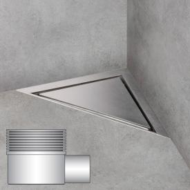 ESS Aqua Jewels Linea Delta floor drain including cover, horizontal connection brushed stainless steel, L: 20 W: 20 cm
