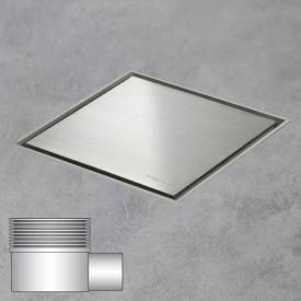 ESS Aqua Jewels Quattro floor drain including cover, horizontal connection brushed stainless steel, L: 15 W: 15 cm