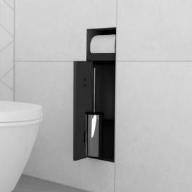 ESS Container T-ROLL built-in toilet brush and toilet roll holder for solid wall and drywall, tileable black