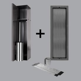 ESS Container T-ROLL built-in toilet brush holder and niche for solid wall and drywall, tileable anthracite