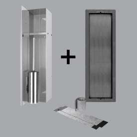 ESS Container T-ROLL built-in toilet brush holder and niche for solid wall and drywall, tileable polished stainless steel