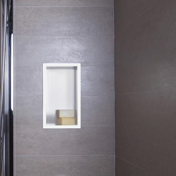 ESS Container BOX wall recess with frame recess white / frame polished stainless steel