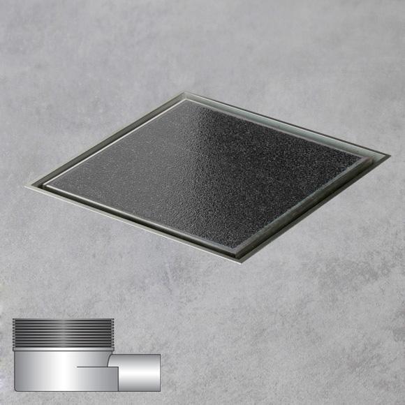 ESS Aqua Quattro floor drain including cover for tile, horizontal connection DN40 L: 15 W: 15 cm, horizontal