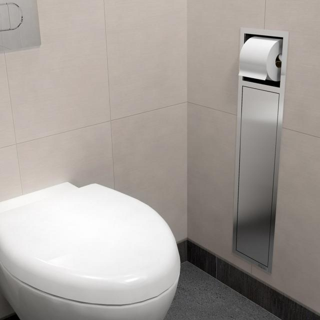 ESS Container ROLL toilet brush set with toilet roll holder brushed stainless steel