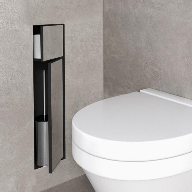 ESS Container T- ROLL toilet brush set with toilet roll holder, tileable black