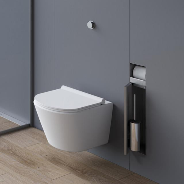 ESS Container T- ROLL toilet brush set with toilet roll holder, tileable brushed stainless steel