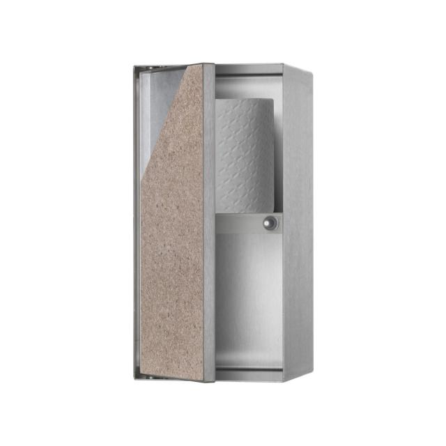 ESS Container T-ROLL wall recess with 2 compartments and 1 door, tileable brushed stainless steel