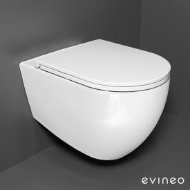 Evineo ineo wall-mounted, washdown toilet set, rimless, with slim toilet seat