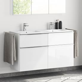 Evineo ineo4 double washbasin and vanity unit with 4 pull-out compartments and handle front white high gloss / corpus white high gloss, white
