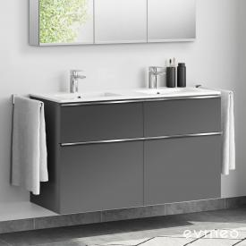 Evineo ineo4 double washbasin and vanity unit with 4 pull-out compartments, with handle front matt anthracite / corpus matt anthracite