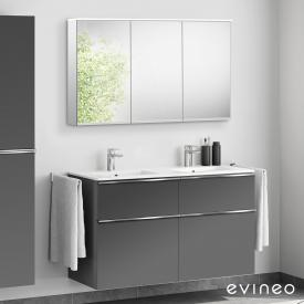 Evineo ineo4 double washbasin and vanity unit with handle, with LED mirror cabinet front matt anthracite/mirrored / corpus matt anthracite/mirrored