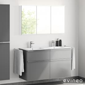 Evineo ineo4 double washbasin and vanity unit with handle and LED mirror cabinet front matt anthracite/mirrored / corpus matt anthracite/mirrored, white