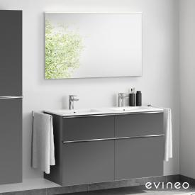 Evineo ineo4 double washbasin and vanity unit with handle, with LED mirror front matt anthracite/mirrored / corpus matt anthracite