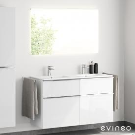 Evineo ineo4 double washbasin and vanity unit with handle and LED mirror front white high gloss/mirrored / corpus white high gloss, white