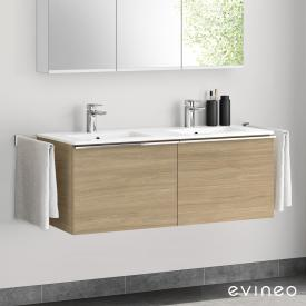 Evineo ineo4 double washbasin and vanity unit with 2 pull-out compartments, with handles front oak / corpus oak