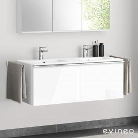 Evineo ineo4 double washbasin and vanity unit with 2 pull-out compartments, with handles front white high gloss / corpus white high gloss