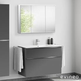 Evineo ineo4 Lavabo avec meuble sous-lavabo avec poignée, avec armoire de toilette LED Façade anthracite mat/réfléchissant/corps du meuble anthracite mat/réfléchissant