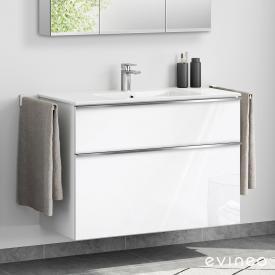 Evineo ineo4 Lavabo avec meuble sous-lavabo, avec 2 tiroirs, avec poignée Façade blanc ultra brillant/corps du meuble blanc ultra brillant