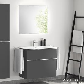 Evineo ineo4 Lavabo avec meuble sous-lavabo, poignée et miroir LED Façade anthracite mat/réfléchissant/corps du meuble anthracite mat