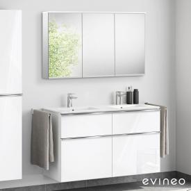 Evineo ineo4 Lavabo double avec meuble sous-lavabo avec poignée, avec armoire de toilette LED Façade blanc ultra brillant/réfléchissant/corps du meuble blanc ultra brillant/réfléchissant