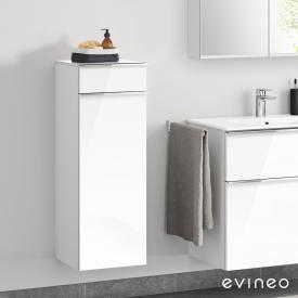 Evineo ineo4 side unit with 1 drawer, 1 door, with handle front white high gloss / corpus white high gloss