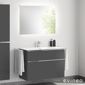 Evineo ineo4 washbasin and vanity unit with handle, with LED mirror front matt anthracite/mirrored / corpus matt anthracite