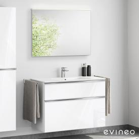 Evineo ineo4 washbasin and vanity unit with handle, with LED mirror front white high gloss/mirrored / corpus white high gloss