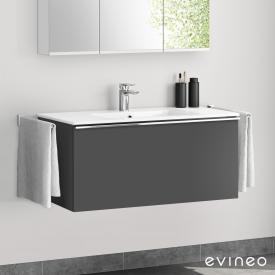 Evineo ineo4 washbasin and vanity unit with 1 pull-out compartment, with handle front matt anthracite / corpus matt anthracite