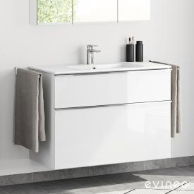 Evineo ineo4 washbasin and vanity unit with 2 pull-out compartments and handle front white high gloss / corpus white high gloss, white