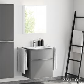 Evineo ineo4 washbasin and vanity unit with handle and LED mirror cabinet front matt anthracite/mirrored / corpus matt anthracite/mirrored, white