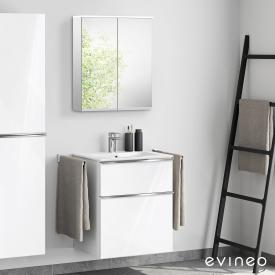 Evineo ineo4 washbasin and vanity unit with handle, with LED mirror cabinet front white high gloss/mirrored / corpus white high gloss/mirrored