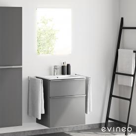 Evineo ineo4 washbasin and vanity unit with handle and LED mirror front matt anthracite/mirrored / corpus matt anthracite, white
