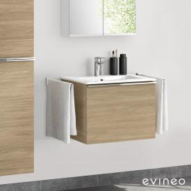 Evineo ineo4 washbasin and vanity unit with 1 pull-out compartment, with handle front oak / corpus oak