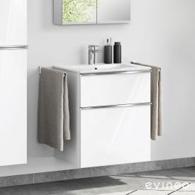 Evineo ineo4 washbasin and vanity unit with 2 pull-out compartments, with handle front white high gloss / corpus white high gloss