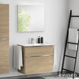 Evineo ineo4 washbasin and vanity unit with handle, with LED mirror front oak/mirrored / corpus oak