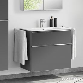 Evineo ineo4 washbasin and vanity unit with 2 pull-out compartments, with handle front matt anthracite / corpus matt anthracite