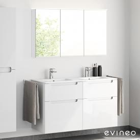 Evineo ineo5 double washbasin and vanity unit with recessed handle and LED mirror cabinet front white high gloss/mirrored / corpus white high gloss/mirrored, white