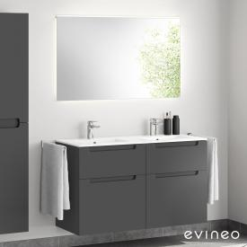 Evineo ineo5 double washbasin and vanity unit with recessed handle, with LED mirror front matt anthracite/mirrored / corpus matt anthracite